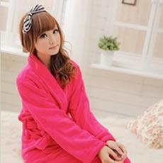 紫依蝶珊瑚绒女士睡袍