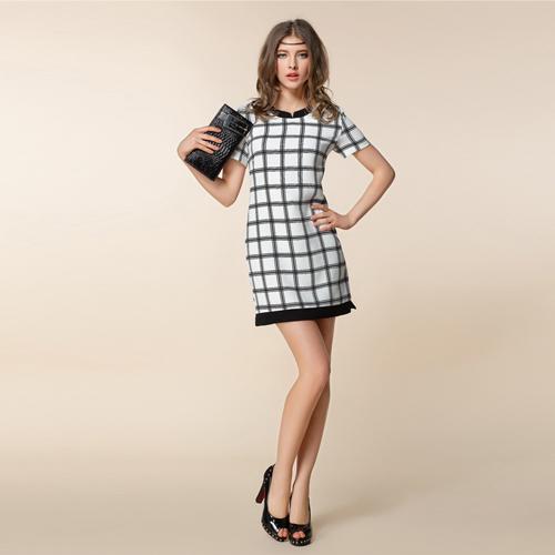 新款夏OL风方格连衣裙 拼接撞色中腰显瘦