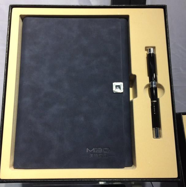 商务本册皮具三件套 — 高档仿真皮记事本、签字笔、名片盒