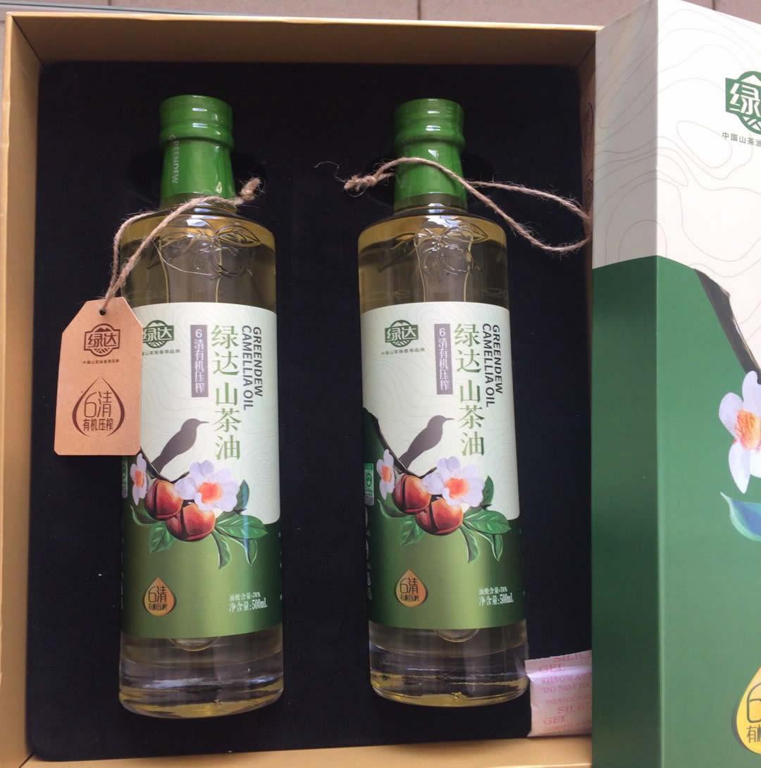绿达6清有机压榨山茶油500ML*2  绿达山茶油品牌