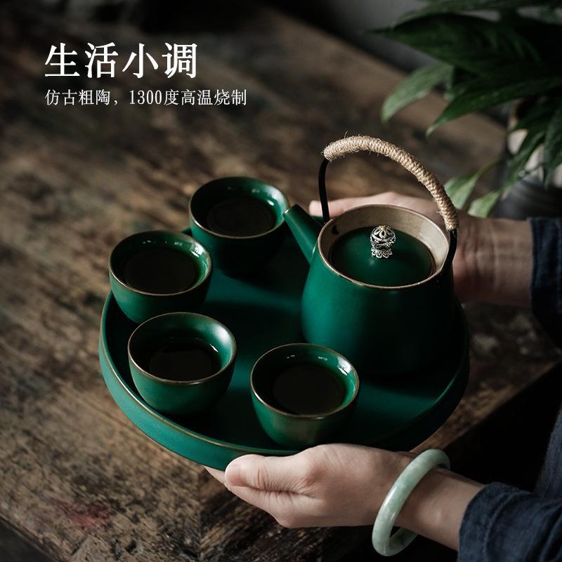 复古提梁壶一壶四杯茶具套装家用小茶盘功夫茶具简约礼盒装送礼伴手礼节日