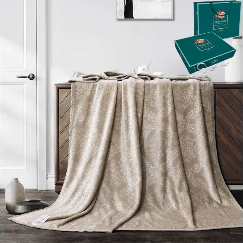 路易卡罗家纺 抑菌彩棉压花毯1盒