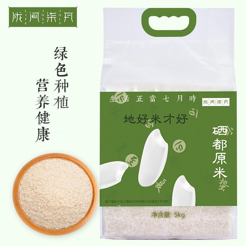 陇间柒月富硒地大米长粒香大米南方香米原生态籼米非转基因 新米 硒都原米5kg